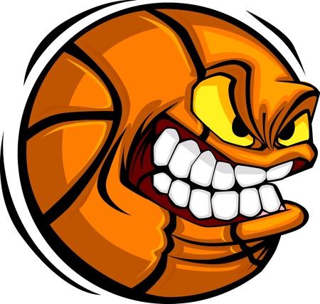 ballon basketball: Basket-ball de caricature avec visage moyenne Illustration