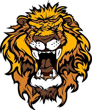 big cat: Cartoon Mascot Image of a Lion Head