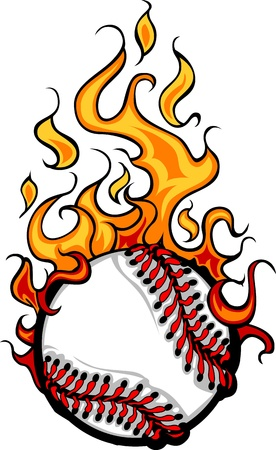 Flaming Baseball Softball Ball Cartoon burning with Fire Flames Vector