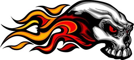 Schädel auf Feuer mit Flammen Illustration