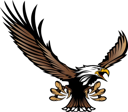 Graphic Mascot Image of a Flying Eagle with wings and Talons Vector