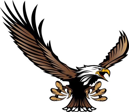 halcones: Imagen gráfica de la mascota de un águila volando con alas y garras Vectores