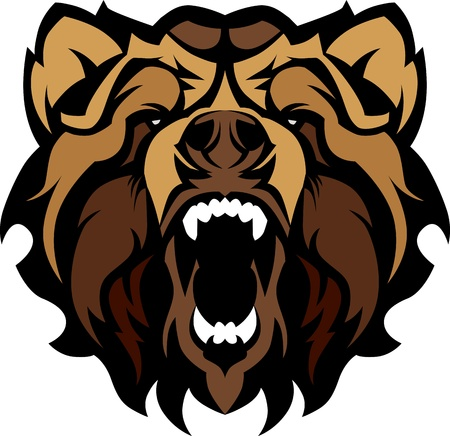 grizzly: Mascotte image graphique d'un chef de l'ours noir