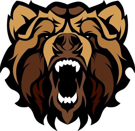 grizzly: Obraz graficzny Maskotka z czarną głową Niedźwiedzia Ilustracja