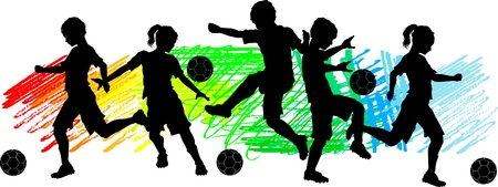 soccer kick: Soccer Players Silhouettes of Children - Boys and Girls Illustration