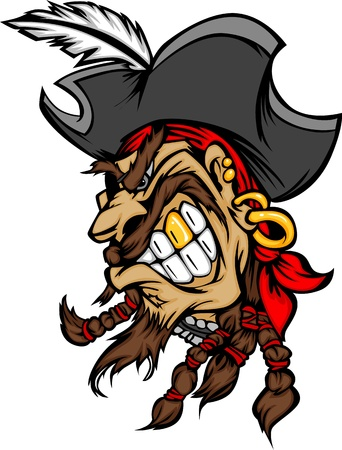 Cartoon Image of Pirate Mascot Wearing a Hat Vector