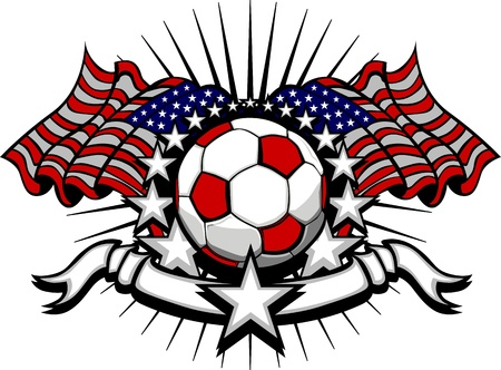 Stars and Stripes Patriotic American Soccer Image with American Flags Vector