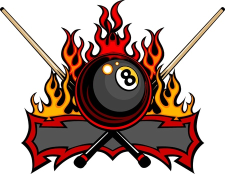 Flaming Billiards Eight Ball with cue sticks Template burning with Fire Flames Vettoriali