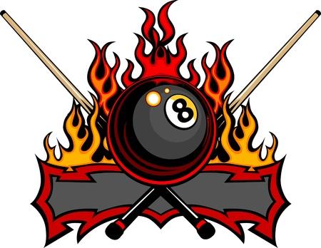Flaming Biljart Eight Ball met cue sticks Template branden met vlammen Vector Illustratie