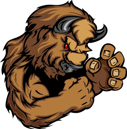 cartoon mascot: Buffalo or Bison Fighting Mascot Body Illustration