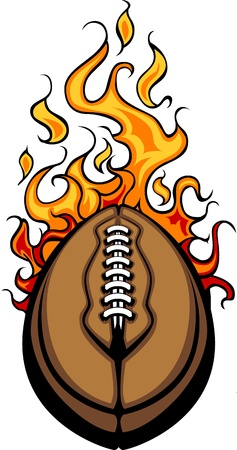 Flaming Football Ball Cartoon burning with Fire Flames Vector