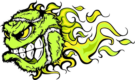 flaming: Flaming Tennis Ball Face Cartoon Illustration Illustration