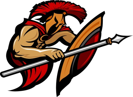 spartano: Grafica cartoon di un greco o troiano Mascot Spartan in possesso di un scudo e lancia