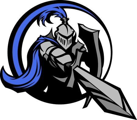 espadas medievales: Caballero medieval con armadura mascota con un escudo y una espada Señalando Vectores