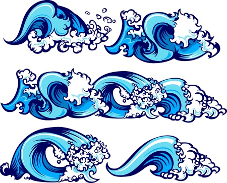 Vagues d'images graphiques de l'eau Vecteurs