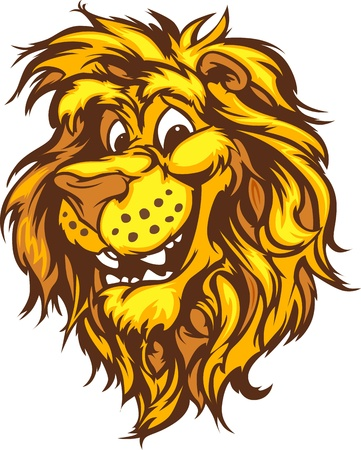 lion vector: Lion Mascot with Cute Face Cartoon Vector Image Illustration