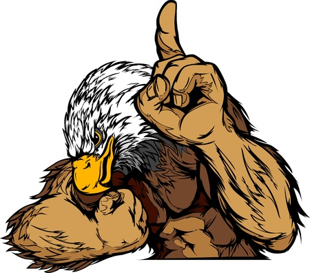 eagle: Cartoon Vector Mascot Image of an Eagle Flexing Arms and Holding up Victory Finger