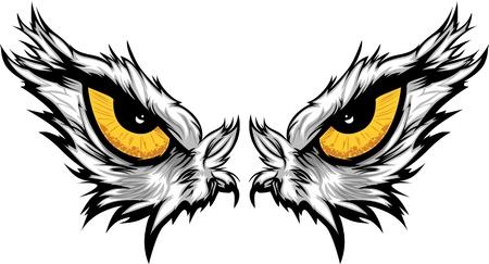 독수리 눈의 만화 벡터 마스코트 이미지
