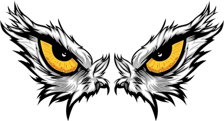 Cartoon Vector Mascot Image of an Eagle Eyes Çizim