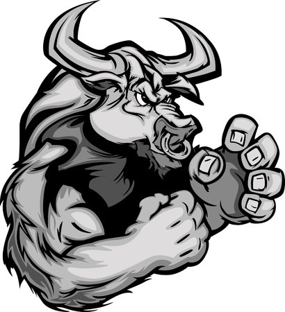 fighting bulls: Longhorn Bull Fighting Mascot Body Vector Illustration