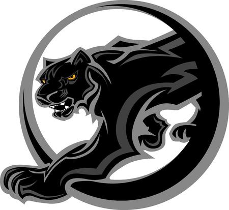 집게발: 블랙 팬더 본체의 그래픽 마스코트 벡터 이미지
