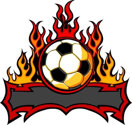 futbol soccer dibujos: Gr�fico bal�n de f�tbol vector imagen de plantilla con las llamas
