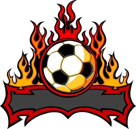 fiery: Graphic Soccer Ball Vector Image Template with Flames Illustration