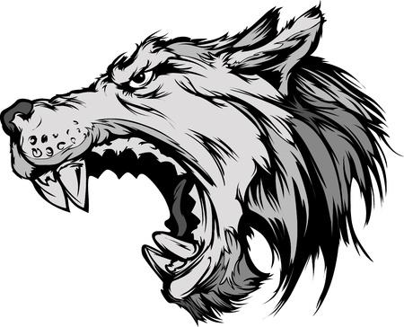 Cartoon Vector Mascot Afbeelding van een grommende Grijze Wolf Head