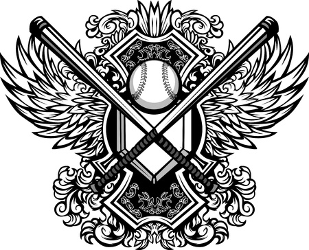 softball: Baseball Bats, Baseball, and Home Plate with Ornate Wing Borders Vector Graphic