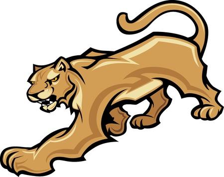 puma: Grafica Vector Image Mascotte di un organismo Walking Cougar