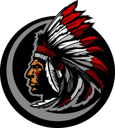 indian chief mascot: Graphic Native American Indian Chief Mascot with Headdress Illustration