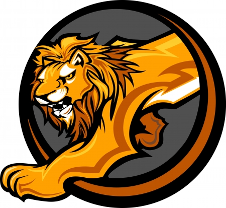 Graphic Mascot Vector Image of a Lion Body Vettoriali