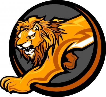 cabeza: Mascota Imagen gráfica vectorial de un cuerpo de león Vectores