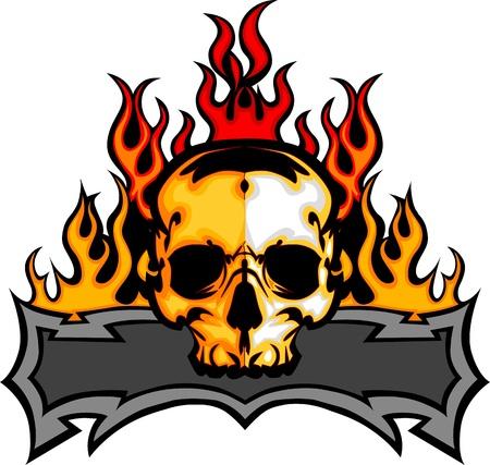 lángok: Grafikus Skull vektor kép Sablon Flames