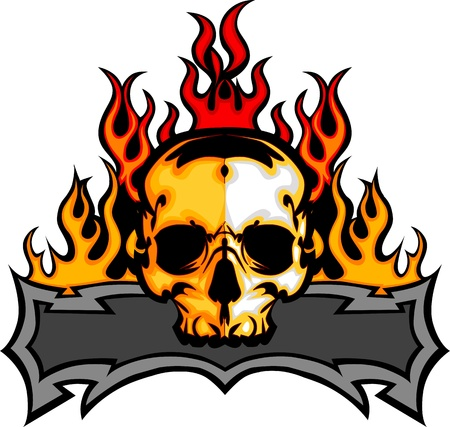 blazing: Graphic Skull  Vector Image Template with Flames