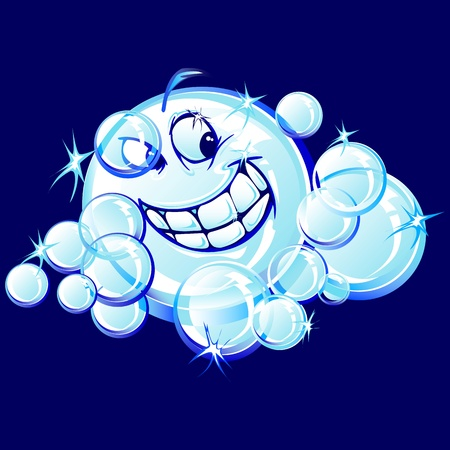Bubbles with Smiling Face Vector Illustration Vettoriali