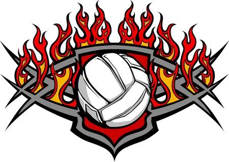 Grafisch Volleybal vector afbeelding sjabloon met vlammen Stockfoto - 11375474