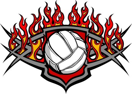 Graphic Volleyball vector image template with flames Vector