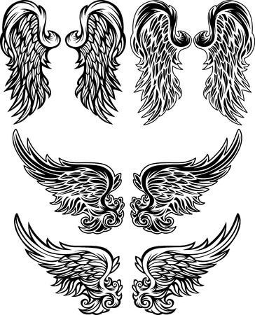 alas de angel: Alas de ángeles Imágenes vectoriales adornado Vectores