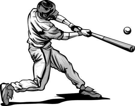 at bat: Baseball Hitter Swinging at a Fast Pitch Vector Illustration