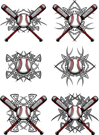 Gráficos de una pelota de béisbol y palos con las fronteras tribales Ilustración de vector