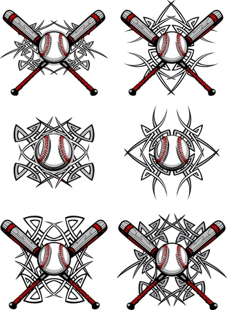 tribals: Graphics of a Baseball and bats with Tribal Borders Illustration
