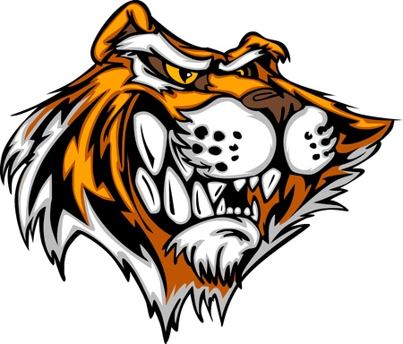 tigre caricatura: Mascota Imagen vectorial de un Jefe Tigre de dibujos animados Vectores