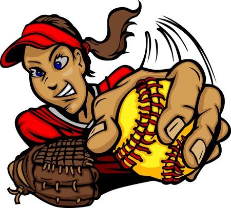 Vector de dibujos animados de un jugador de Softbol de Lanzamiento Rápido Pitching
