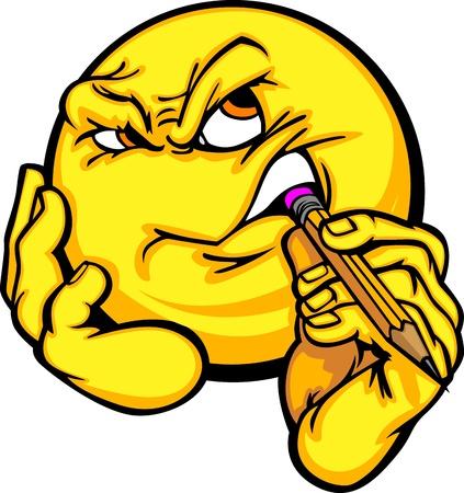 Cartoon Emoticon geel gezicht nadenken Creativiteit kauwen op een potlood Stock Illustratie
