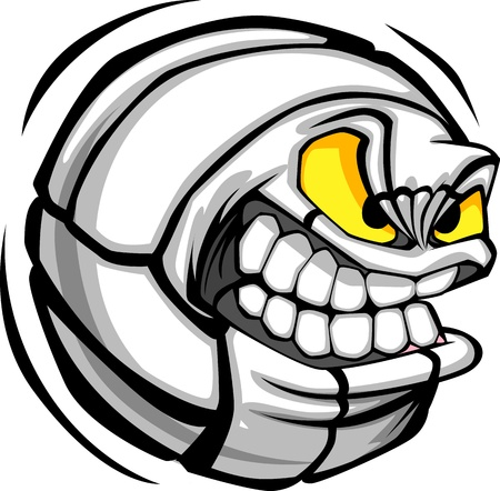 hostile: Vector Cartoon Volleyball Ball with Mean Face