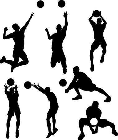 Vector afbeeldingen van Male Volleybal Silhouetten Spiking en instellen Ball