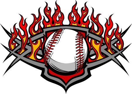 Graphic Baseball or Softball vector image template with flames Vector
