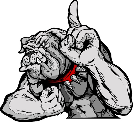 Cartoon Vector Mascot Image of a Bulldog Flexing Arms and Holding up Champion Finger Vector