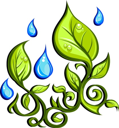 raining: Graphic Vector Image of Leaves and Rain in Spring